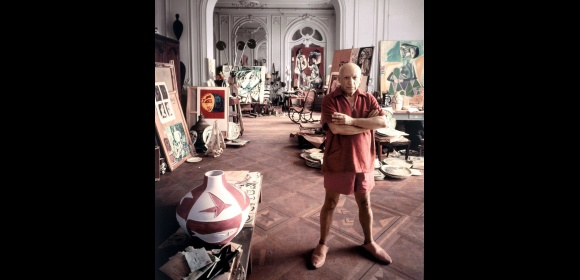 Pablo Picasso in his studio, Cannes